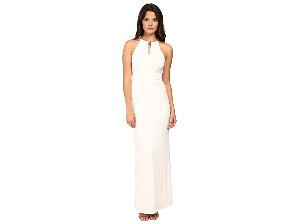 Laundry by Shelli Segal Matte Jersey Gown w/ Necklace Detail (Warm White) Women