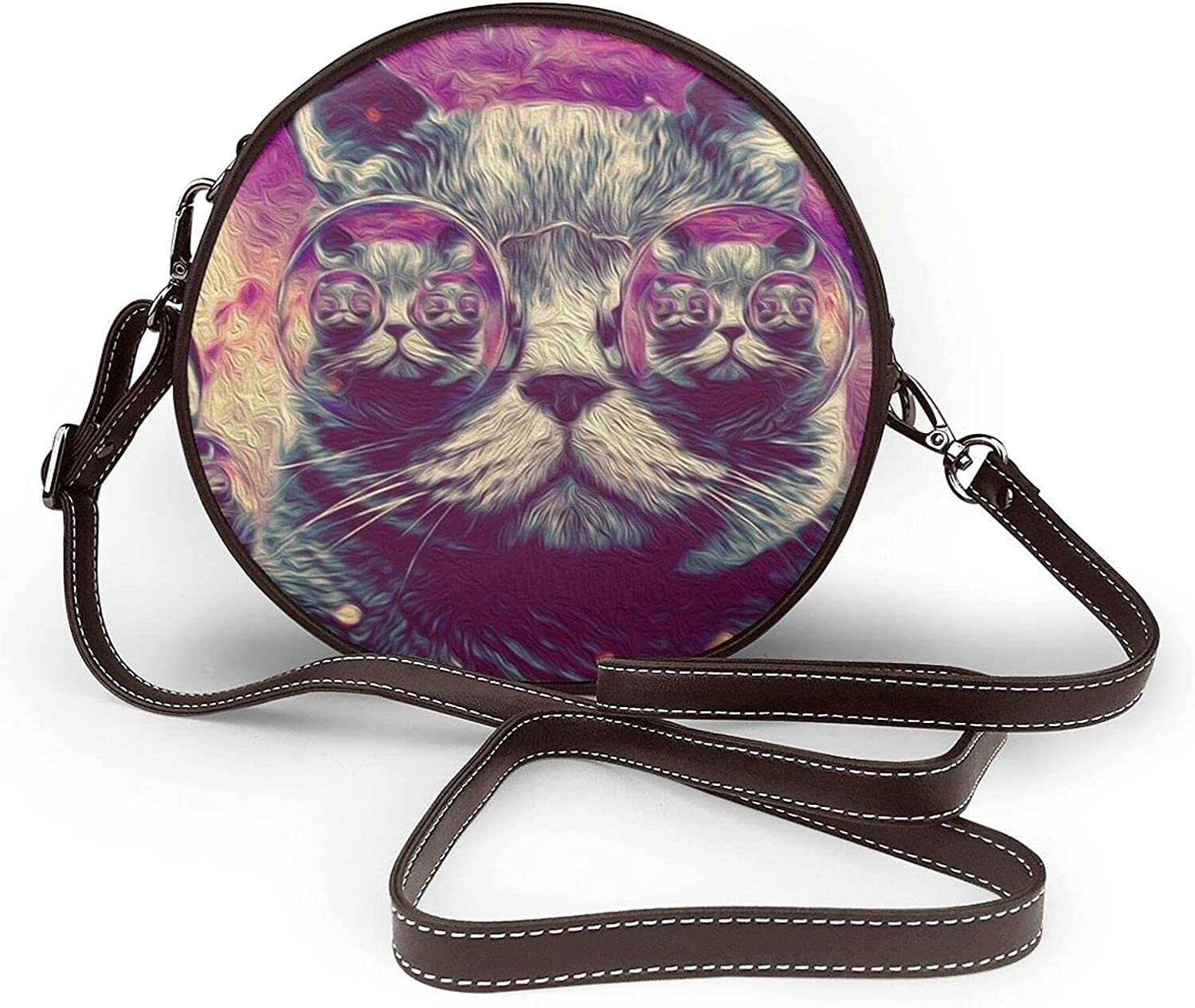 Hipster Psychedelic Cat Raleigh Mall SALENEW very popular Womens Shoulder Fashion Crossbody Round