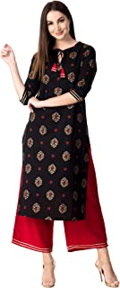 Khushal K Women's Women's Cotton Printed Kurta with Palazzo Set (Black)
