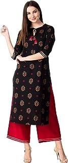 KHUSHAL Women's Cotton Printed Kurta with Palazzo Set (Black)