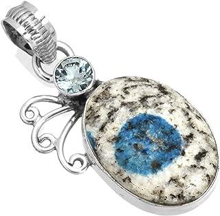 Natural K2 Azul - Azurita en Cuarzo Piedras Preciosas Colgante Sólido 925 Esterlina Plata Colección Joyería