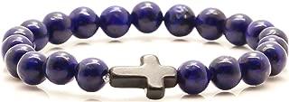 Halin Dre Hip Hop Religious Cross 8MM Yoga Natural Lapis Lazuli Stone Elastic Bracelet