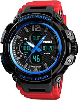 TONSHEN Large Dial Multifunction Outdoor Military Sport Digital Watch for Men Plastic Case with Rubber Band Analog Quartz LED Electronic Three Time 50M Waterproof Running Fitness Watches (Blue Red)