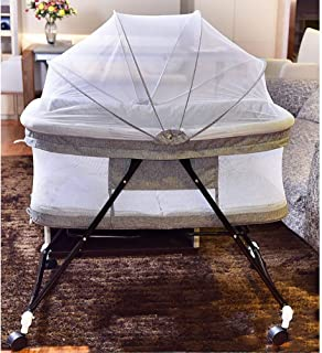 WYVA Baby Bedside Crib Sleeping Cot Bed Travel Cot Baby Bed Bassinet Folding Cot Adjustable Co-Sleepers with Matress and Mosquito Net