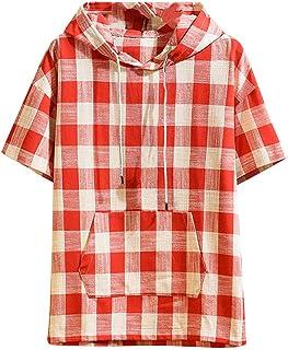 Aster JaKi メンズ フード付き Tシャツ 春夏 カジュアル 半袖 チェック柄 ゆったり トップス ポケット付き 綿麻 大きいサイズ M~5XL