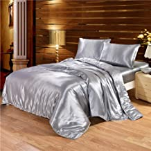 Comforter Set Double Bed,Solid Satin Silk Bedding Set Duvet Cover Sheet Bed Size King Queen,Twin(2Pcs) (King,220 * 240CM)