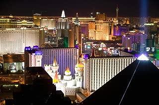 Las Vegas Nevada Strip Cityscape Illuminated at Night Luxor Excalibur Photo Photograph Cool Wall Decor Art Print Poster 36x24