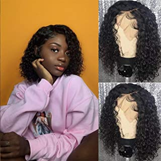 V SHOW Hair Lace Front Wigs Human Hair Brazilian Bob Water Wave Wet and Wavy Virgin Hair Lace Wigs Pre Plucked Natural Hairline with Baby Hair 14 Inches for Black Women