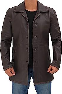 Decrum Leather Coats for Men - Black and Brown Leather Jacket Men - - Medium