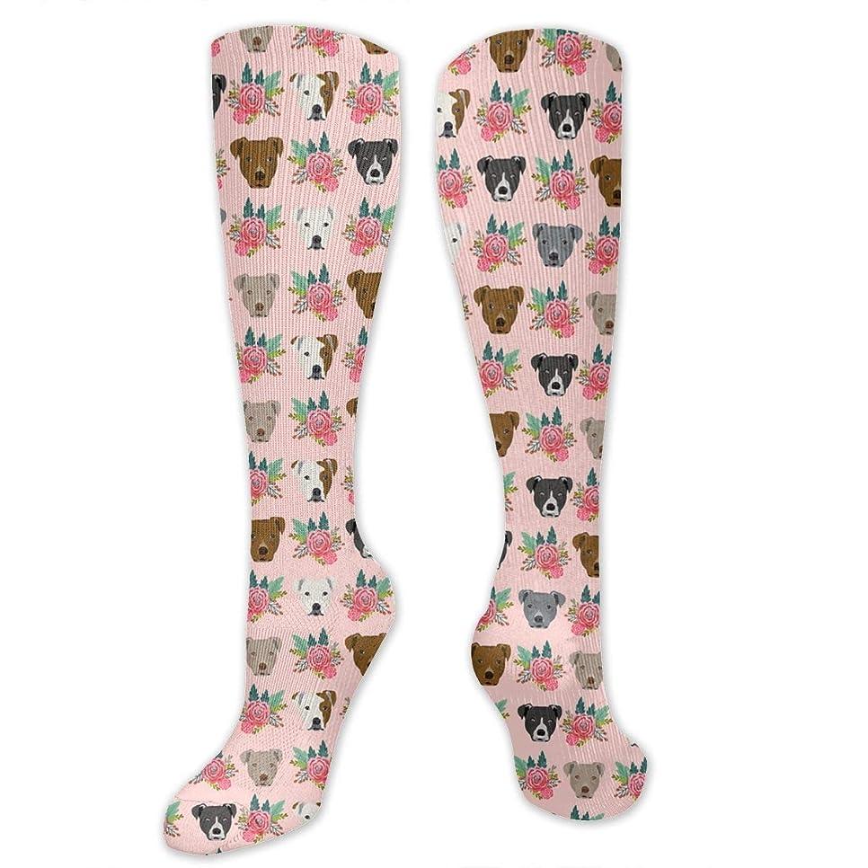 温室オーバーヘッド表面靴下,ストッキング,野生のジョーカー,実際,秋の本質,冬必須,サマーウェア&RBXAA Women's Winter Cotton Long Tube Socks Knee High Graduated Compression Socks Pitbull Floral Head Socks