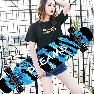 HLYT-Barstools Longboard Skateboard Cruiser 42 Inch x 10 Inch Complete Drop Down Through Deck Longboard 8 Layers Maple for Cruising, Carving, Free-Style, Downhill and Dancing