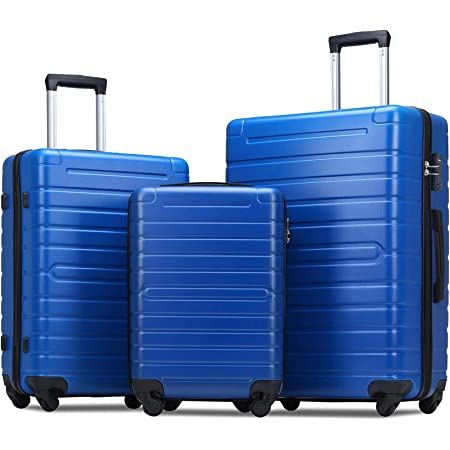 Flieks Luggage Sets 3 Piece Spinner Suitcase with TSA Lock Lightweight 20 24 28 inch (Elegant Blue)