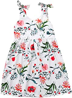 ccca9033688 Fiaya Mommy and Me Daughter Matching Dresses Floral Suspender Sleeveless  Floral Print Family Clothes (Daughter