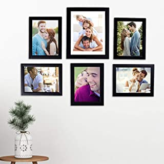 Art Street - Set of 6 Individual Black Wall Photo Frames Wall Hanging (Mix Size)(5 Units 6X8, 1 Unit 8X10 inch)|| Free Hanging Accessories Included ||
