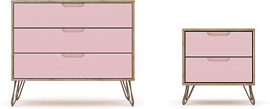 Manhattan Comfort Rockefeller Mid-Century Modern 3 Drawer Bedroom Dresser with Nightstand, Set of 2, Nature/Rose Pink