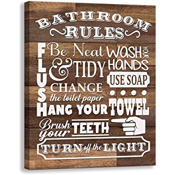 Amazon Com Kas Home Bathroom Canvas Wall Art Rustic Bathroom Funny Rules Prints Signs Framed Wood Background Bathroom Laundry Room Decor 12 X 15 Inch Bathroom Rules 01 Posters Prints