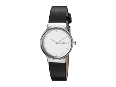 Skagen Freja Two-Hand Watch (SKW2668 Silver Black Leather) Watches
