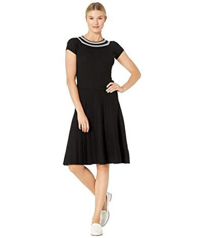 LAUREN Ralph Lauren Ribbed Fit-and-Flare Dress (Polo Black/White) Women
