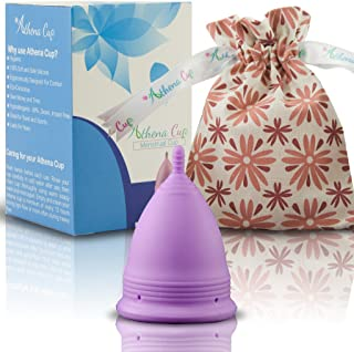 Athena Menstrual Cup - #1 Recommended Period Cup Includes Bonus Bag - Size 1, Solid Purple - Leak Free Guaranteed!
