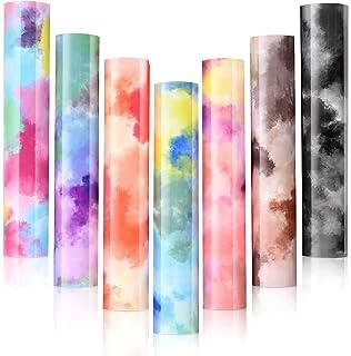 YASUOA 7 Sheets Rainbow Tie Dye Heat Transfer Vinyl, Tie Dye Iron on Vinyl for T-Shirt, 12 x 10 Inches 3D Heat Transfer Vi...