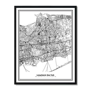 Susie Arts 11X14 Unframed Long Island New York Metropolitan City View Abstract Street Map Art Print Poster Wall Decor V383