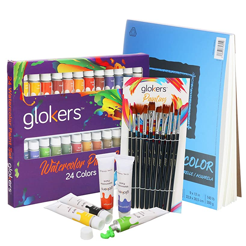Premium Watercolor Paint Set by Glokers | Bundle with Canson XL Watercolor Pad + 24 Paint Tubes/Colors + 10 Professional Paintbrushes | Painting Art Kit for Adults, Beginners, or Advanced Students