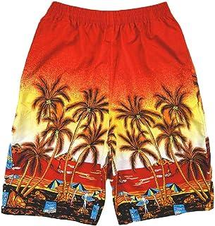 qianqianq Mens Palm-Tree-Print Elastic Waist Swim-Trunks Beach Board Shorts