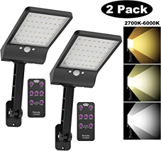 highydroLED Solar Lights Outdoor with Remote and Color Temperature Adjustment 2700K to 6000K, 48LED Solar Motion Sensor Light with 3 Modes,Waterproof IP65 Night Light for Garden Garage [Pack of 2]