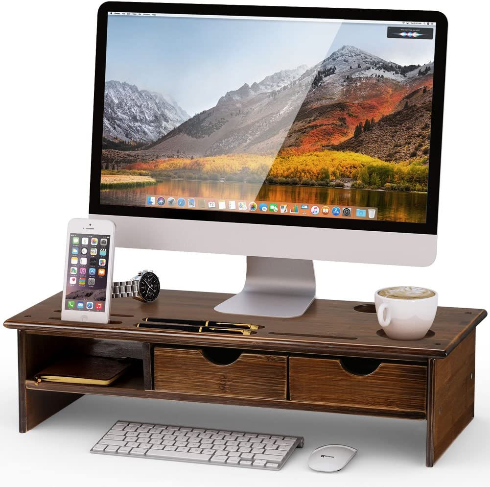 Tribesigns Monitor Stand Riser with Storage Organizer Drawers Bamboo,Retro Brown