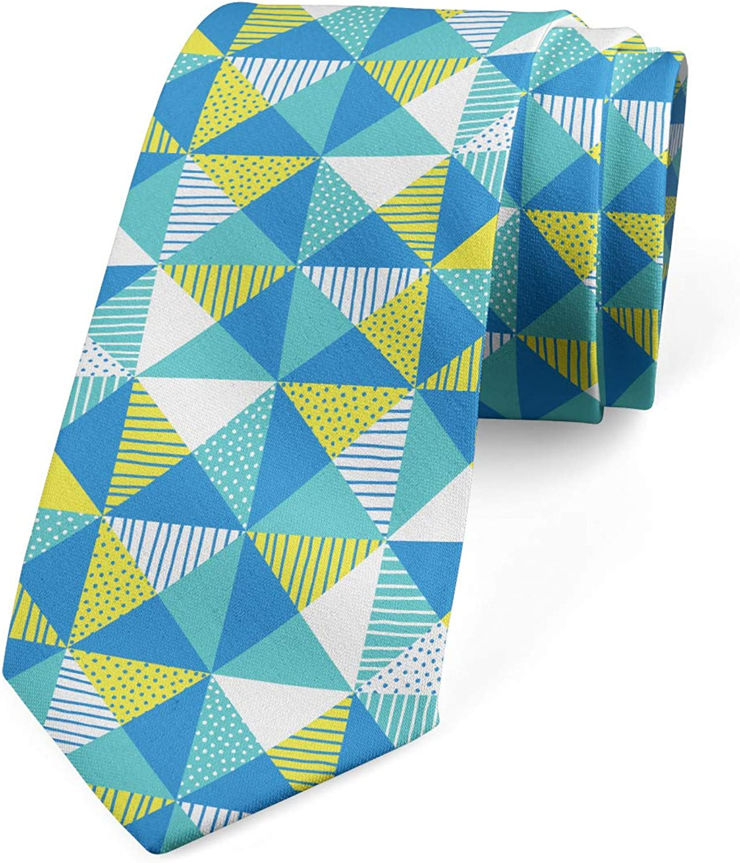 Ambesonne Men's Tie, Abstract Squares Dots, Necktie, 3.7