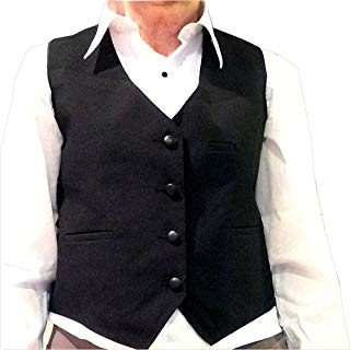 Tuxedo Vest, Womens 4 Button Black, Satin Back