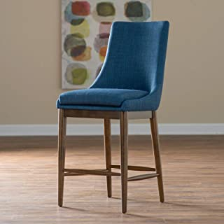 Home Collection Blue Fabric Upholstered Bar Stool with Back Walnut Finish Frame 30 Inch Seat Height