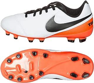 Kids Tiempo Legend VI FG White/Black/Total Orange Shoes - 5.5Y