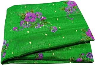 Peegli Indian Vintage Saree Green Traditional Wear Woven Border Bollywood Designer Dress Women Ethnic Sari Silk Blend Craft Décor DIY Sewing Fabric 5 Yard