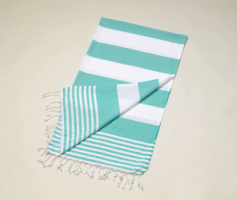 Lelilian Hammam Turkish Beach Towel 100/% Cotton Blue Turquoise /& White Stripe 100 x 175cm Beach Gym Yoga Travel Towel Peshtemal Spa Sauna Blanket Sarong Fast Drying