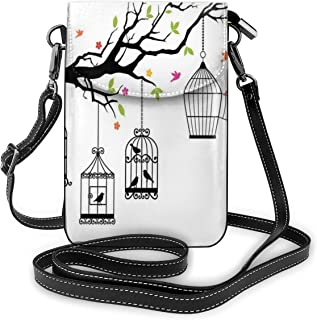Women Small Cell Phone Purse Crossbody,Floral Colorful Tree Branch With Birds And Open Cages Freedom Theme Spring Liberty