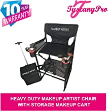 TuscanyPro Portable Heavy-Duty Makeup Artist Chair with Storage Cart - Perfect for Makeup, Salon, Events with 29 Inch Seat Height - Carry Bag Included - 10 Years Warranty - US Patented