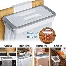 FERRON Attach-A-Trash The Hanging Trash Bag Holder Kitchen Cupboard Door Back Style Stand Plastic Hanging Trash Bag Holder For Garbage (White)