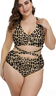 Kisscynest Women's Plus Size Swimwear 2 Piece High Waisted Swimsuit Bathing Suit