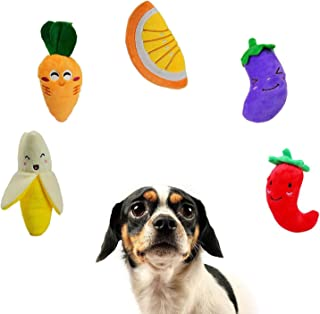 Squeaky Dog Toys, Fruit & Vegetable Designs Plush Puppy Dog Toy Package for Aggressive Chewers, Boredom, Suitable for Pupp...