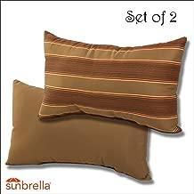 Comfort Classics Inc. Set of 2-22x12x4 Sunbrella Indoor/Outdoor Fabrics Lumbar Pillows in Davidson Redwood/Cocoa