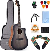lotmusic 41 Inch HAG-1 Cutaway Acoustic Guitar Top Spruce with Bag Tuner Strap Picks String Capo Mute Clean cloth