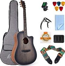 lotmusic 41 Inch Acoustic Guitar Professional Cutaway Folk Guitarra Bundle Top Spruce 6 Metal Strings with Beginner Kit (G...