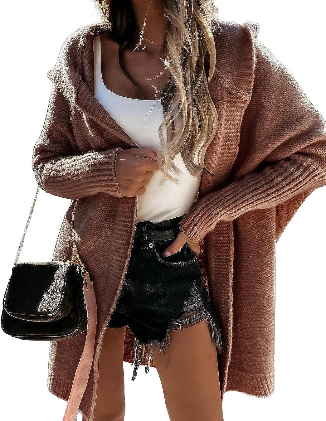 PRETTYGARDEN Women's Causal Open Front Cardigan Soft Hoodie Oversized Knit Sweaters