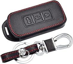 Happyit Cuero Llave del Coche Cubrir Casos Llavero de Coche para Mitsubishi Outlander Lancer 10 EX Pajero Sport ASX RVR L200 3 Botones Clave Inteligente