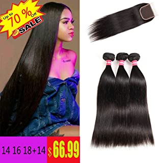 LONG YAO Brazilian Straight Virgin Hair 3 Bundles with Closure 4 X 4 Lace Closure with Bundles 100% Virgin Human Hair Extensions Weave weft Natural Color (14 16 18 W 14 Closure)
