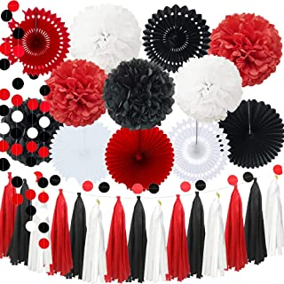 InBy Mickey Mouse Black and Red Happy Birthday Party Decoration Set Minnie Mouse Party Supplies Kit - 12