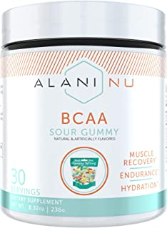 Alani Nu BCAA Branched Chain Essential Amino Acids Supplement Powder, Muscle Recovery Vitamins for Post-Workout, 30 Servings (Sour Gummy)