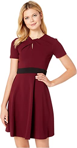 Short Sleeve Fit and Flare Band Dress