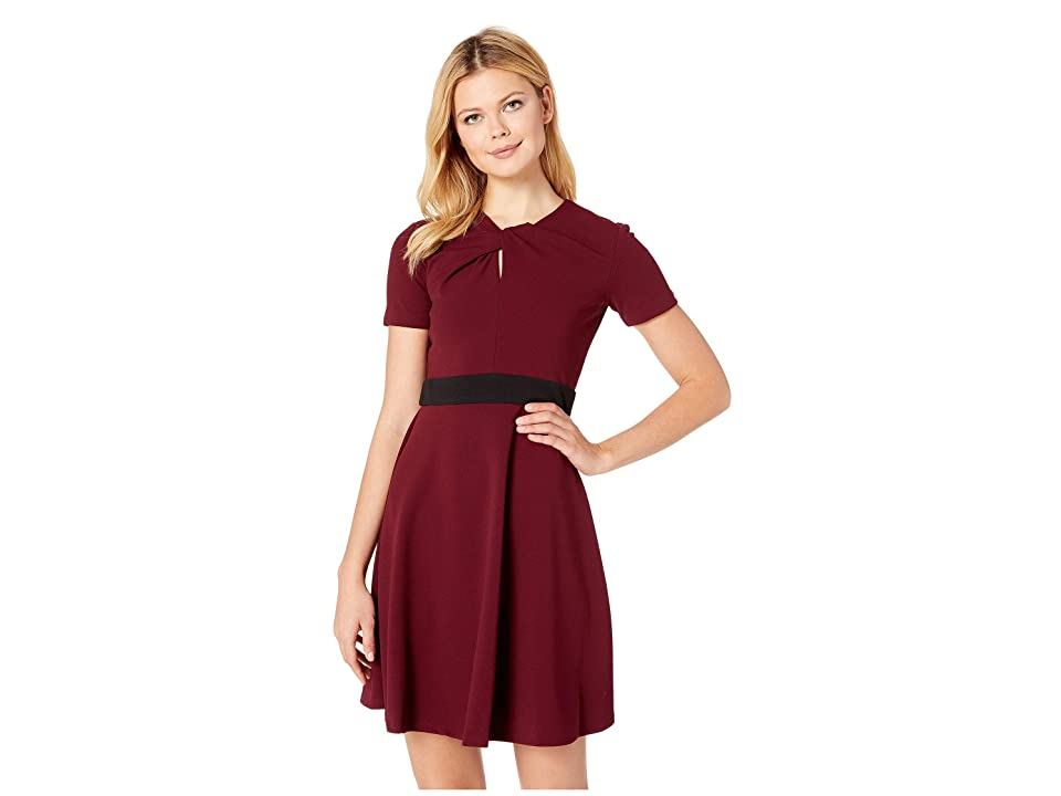 Taylor Short Sleeve Fit and Flare Band Dress (Burgundy) Women